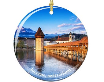 Lucerne Switzerland Christmas Ornament, Porcelain 2.75 Inch Swiss Christmas Ornaments