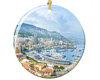 Monte Carlo Christmas Ornament in Porcelain Featuring Monaco's Famous Bay