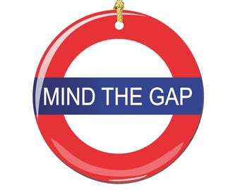 Mind The Gap Christmas Ornament, Porcelain 2.75 Inch London Christmas Ornaments