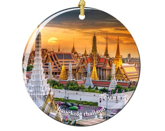 Bangkok Christmas Ornament of Thailand in Porcelain, Double Sided 2.75 Inches