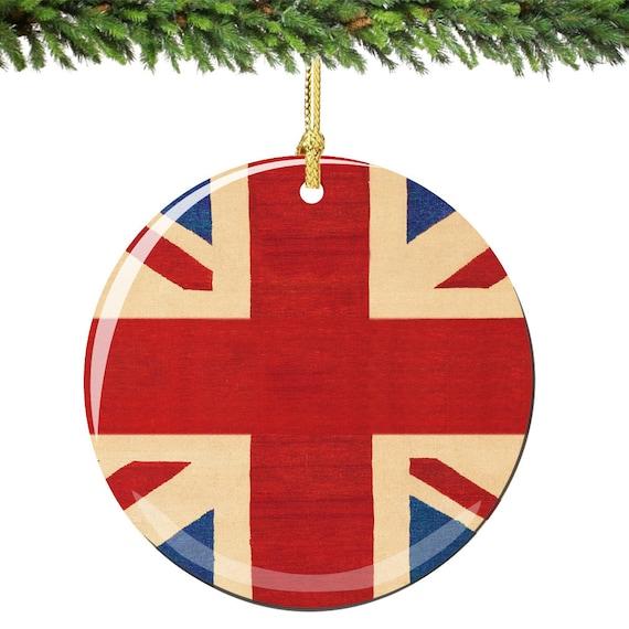 Union Jack Christbaumschmuck Aus England In Porzellan Doppelt Etsy