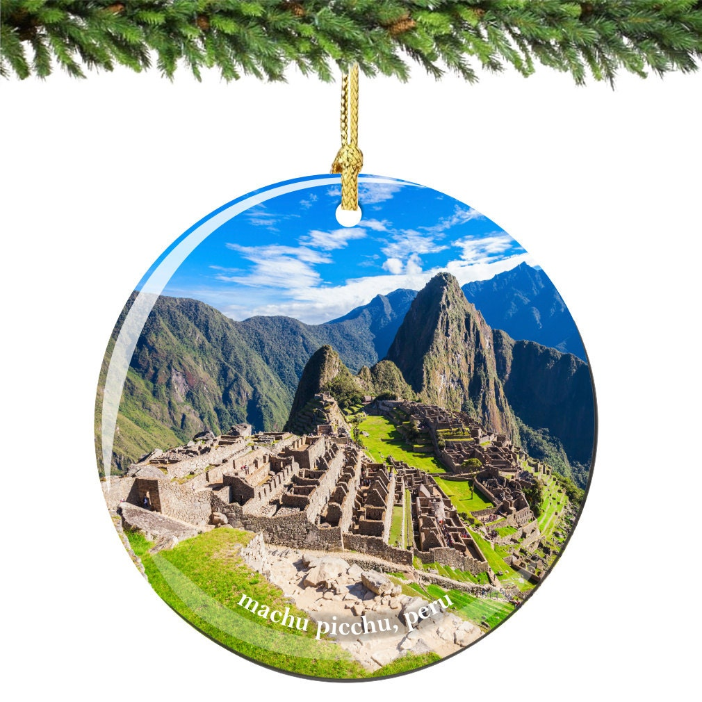 Machu Picchu Christmas Ornament of Peru in Porcelain Double   Etsy