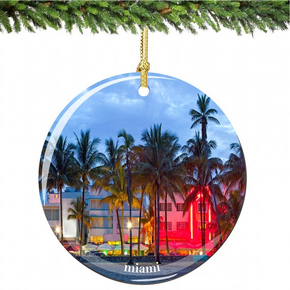 image 0 - Miami Christmas Ornament In Porcelain Featuring South Beach Etsy