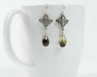 Smoky Lemon Quartz & Bee Earrings