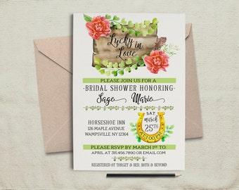 Lucky In Love Invitation.Bridal Shower Invite.Irish Invite.St Patricks Invite.