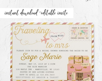 229c78e4a2b Pink Travel Bridal Shower Invitation Design • Travel Shower • INSTANT  DOWNLOAD • Printable