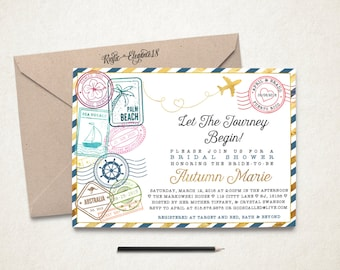travel bridal shower invitationtraveling from miss to mrs bridal showerpostage stamps invite postage stamps travel theme party