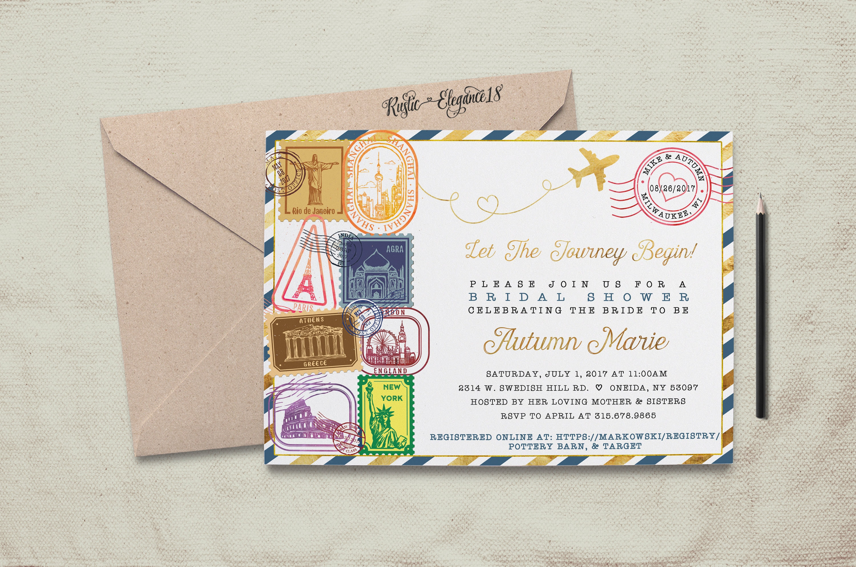 Travel Bridal Shower Invitation Design 2. Rio.Greece.New   Etsy