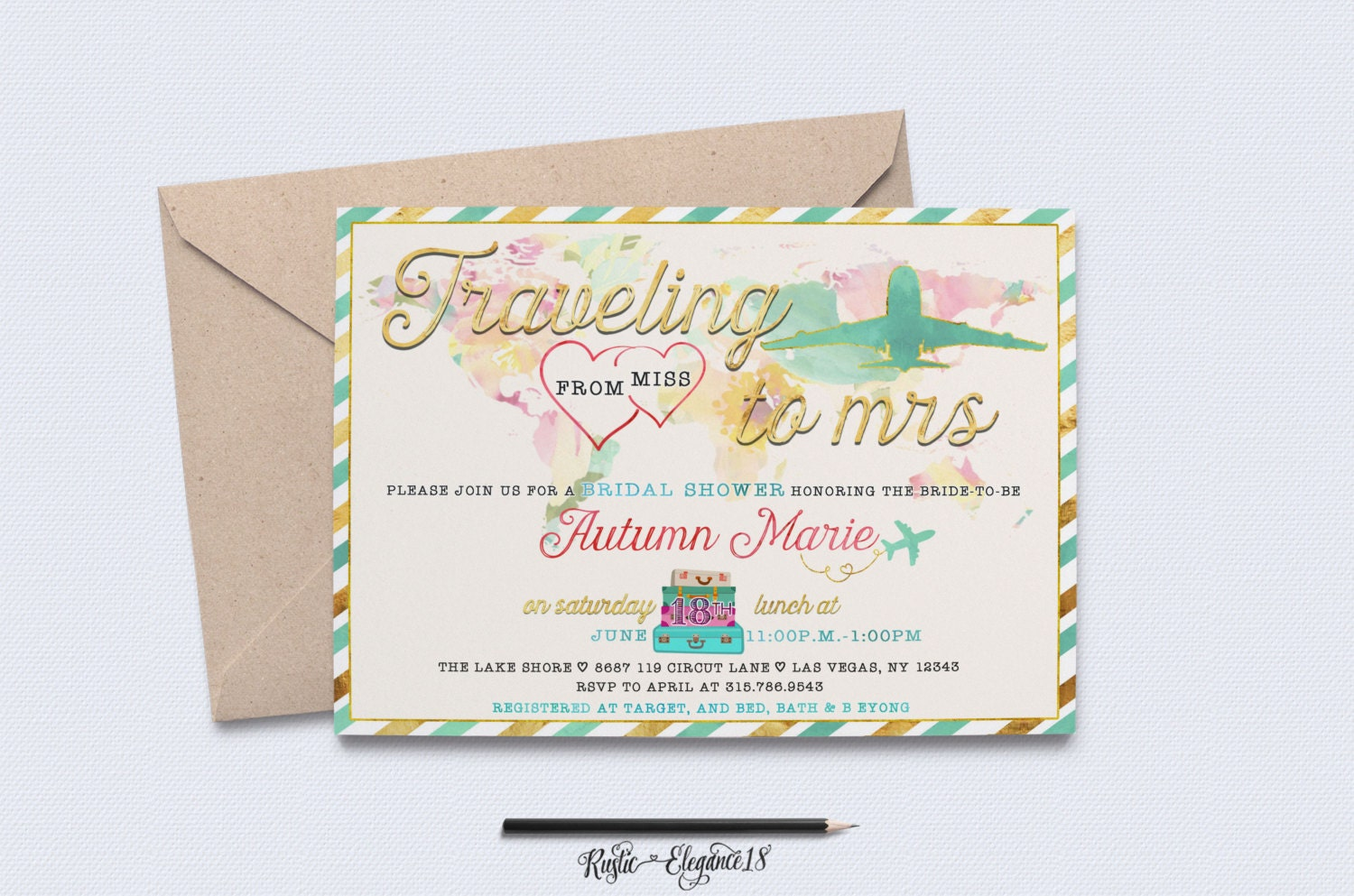 47b9b124b16582 Teal Traveling From Miss To Mrs Bridal Shower Invite   Travel