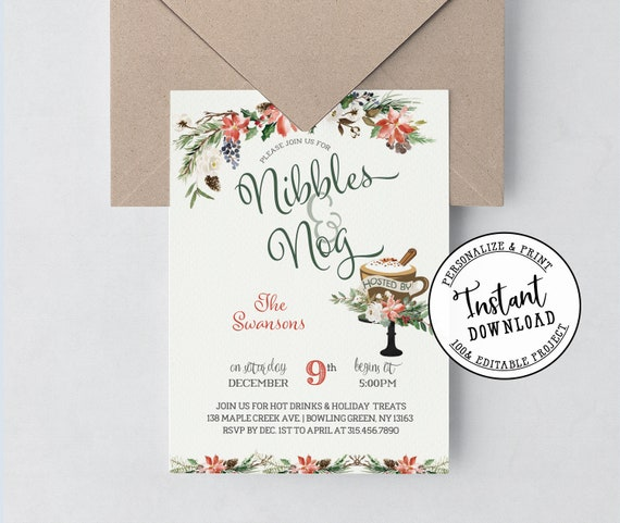 Nibbles And Nog Christmas Invitation Poinsettias And Greenery Instant Download Printable Editable Template
