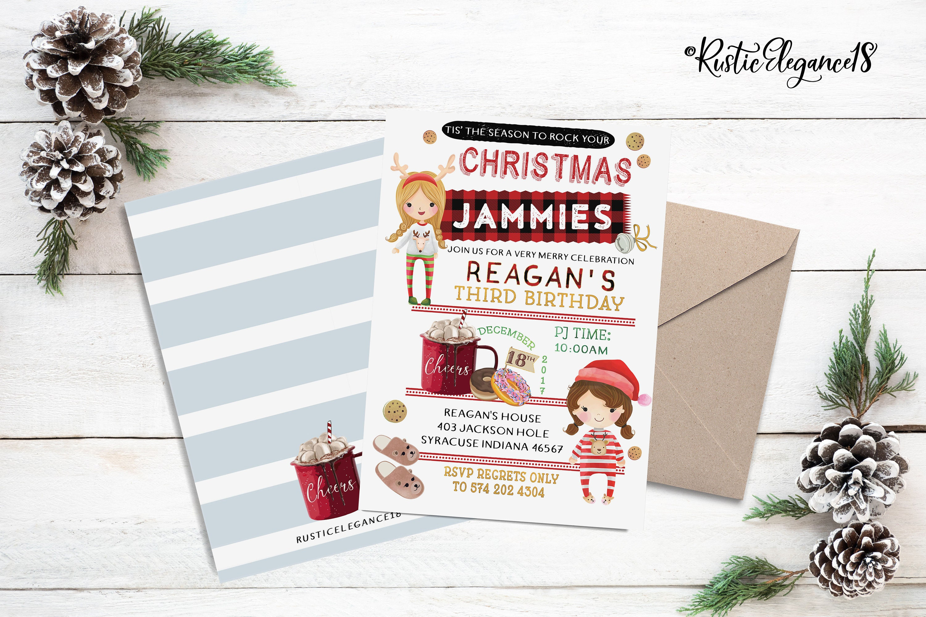 Christmas PJ Jammies Birthday Invite // Christmas Birthday | Etsy