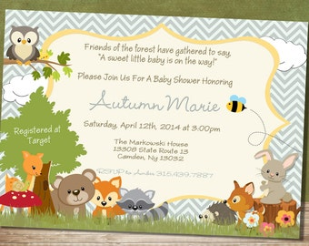 Chevron Forest Themed Baby Shower Invitation - Woodland Baby Animal Baby Shower Invitation-Neutral // Party CFTBS