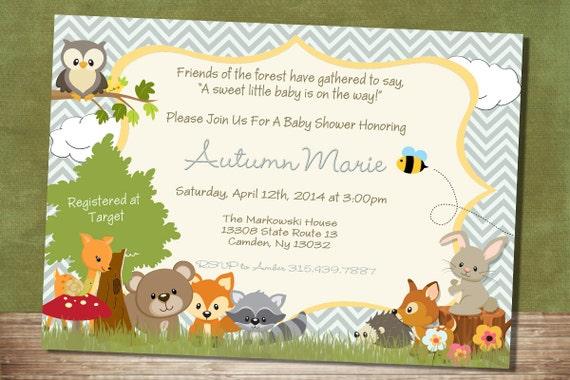 Chevron Forest Themed Baby Shower Invitation Woodland Baby Etsy