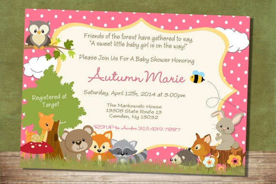 Baby Girl Forest Themed Baby Shower Invitation Woodland -1019