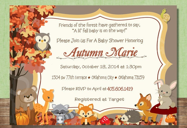 Woodland Animals Fall Forest Themed Baby Shower Invitation Etsy