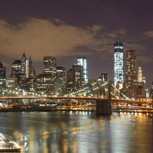 Manhattan Manhattan Skyline Photograph Landscape Print World Trade Center New York City Night Brooklyn Pier Financial District