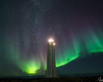 Iceland Northern Lights Fine Art Photograph - Aurora Borealis - Malariff Lighthouse, Astrophotography, Night Sky - Lighthouse Art