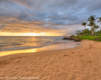 Sunset on the Beach Photograph - Hawaii Print - Maui Photo - Beach Art, Sunset Landscape Photo, Beach Sunset, Grand Wailea