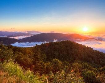 Blue Ridge Sunrise Photo - Shenandoah National Park - Blue Ridge Mountains - Virginia Print - Fog Photo - Landscape Photography