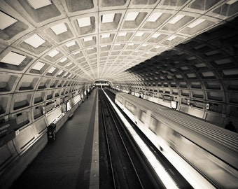Washington DC Metro Photography - Gallery Place Chinatown - Black & White, Fine Art Print, Metro Station, Train - Home Decor