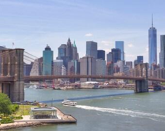NYC Skyline Photograph - New York City Panorama - Landscape Print - Brooklyn Bridge, World Trade Center, Manhattan, New York Panorama