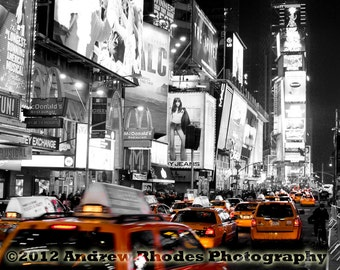 New York City Taxi Photograph - Times Square Print - NYC Photo - Black & White - Yellow Taxi Photo - Selective Color Print