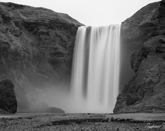 Skogafoss Fine Art Photograph - Skogafoss Waterfall Print - Skogar, Black & White - Iceland Print, Long Exposure, South Iceland