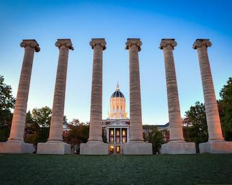 Mizzou Homecoming Photograph - Columns on the Quad - Jesse Hall Golden Dome - University of Missouri Print - Columbia MO Art