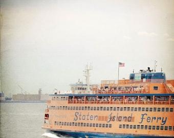 Staten Island Ferry Photo - NYC Photography - Vintage, Blue, Orange - New York City Photo - Staten Island - Vintage NYC Photo