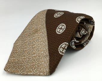 Vintage 1970s Wide Brown Polyester Tie with White Neats by Andhurst