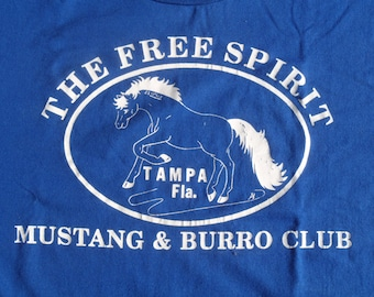 Vintage 1990s Tampa Mustangs Burro Club Blue T-Shirt L Jerzees 50 50 Cotton Poly Blend