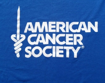 Vintage 1980s American Cancer Society Blue T-Shirt L Screen Stars 50 50 Cotton Poly Blend