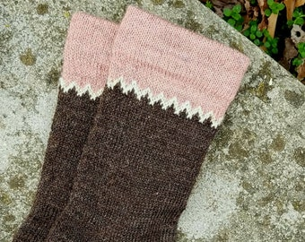 1910 Fair Isle Cuffed Shepherd Socks-Natural Shaela, White accent, Hand dyed Shabby Chic Pink Cuff- MADE TO ORDER