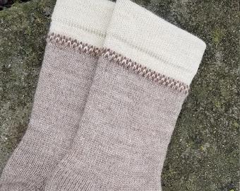 1910 Fair Isle Cuffed Shepherd Socks-Natural Latte, Fawn, Moorit Accent-Custom Made to Order