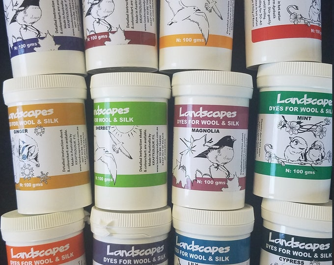 Featured listing image: Landscapes Acid Dye ** THE NEW COLORS**-100 Gram Jars for wools, silk and nylon
