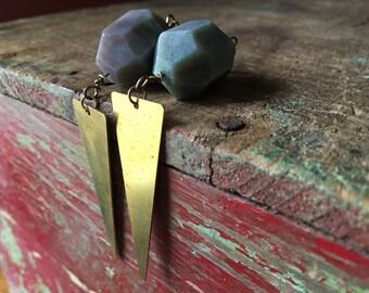 Faceted Indian Agate & Brass Dagger Earrings