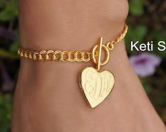 14K Yellow Gold Filled Monogram Locket Bracelet - Heart Locket Bracelet (Order Any Initials) - Engrave Date or Message On The Back
