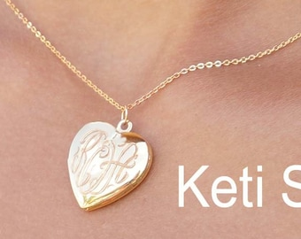 14K Gold Heart Monogram Locket - Engraved Locket - Customized It with Initials, Name or Date. Engrave On The Back Of The Locket.