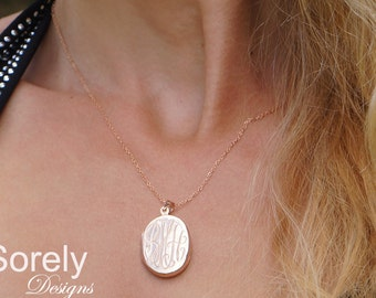 Oval Monogram Locket With Engraved Initials - Customized Photo Locket - Engrave  Date, Name or Initials - Silver with Rose Gold Overlay