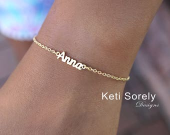 980613fe1161b Personalized Name Date or Word Bracelet in Sterling Silver or | Etsy