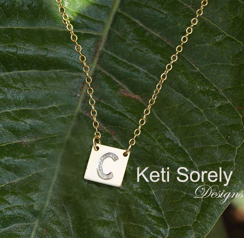 Engraved Initial Sterlnig Silver Yellow or Rose Gold Square Shape Dainty Charm Necklace Personalized Initials Charm With Diamond Beading