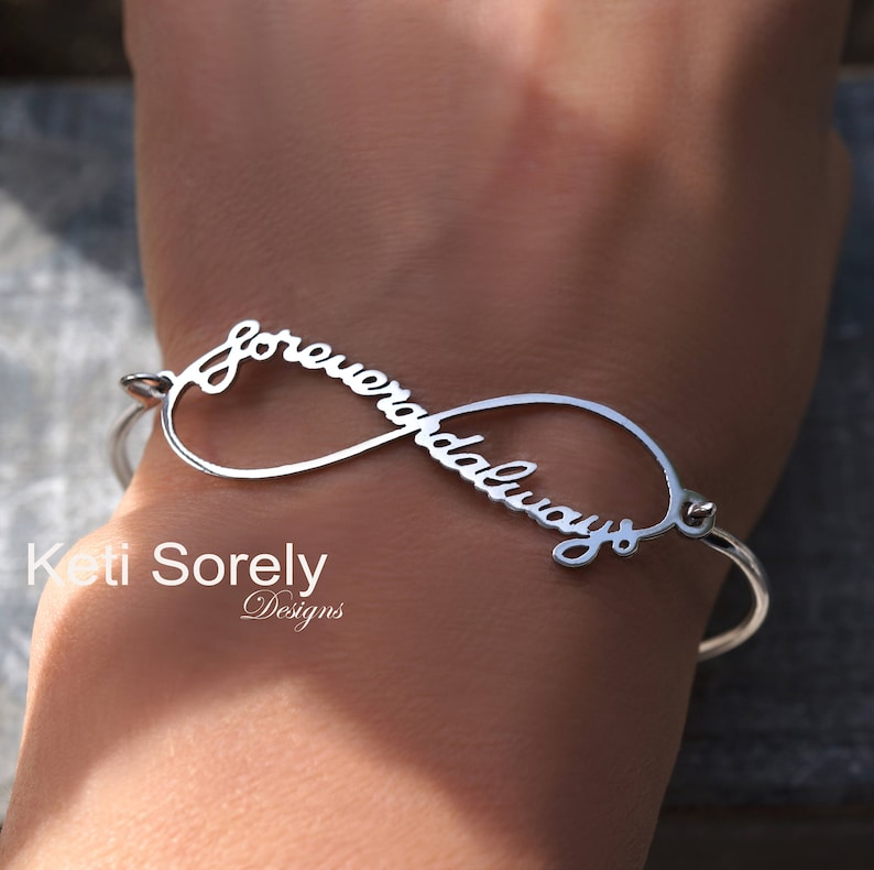 Signature Bangle Infinity Bangle with Your Handwriting Message Rose Or White Name Bangle Sterling Silver or Solid Gold: Yellow
