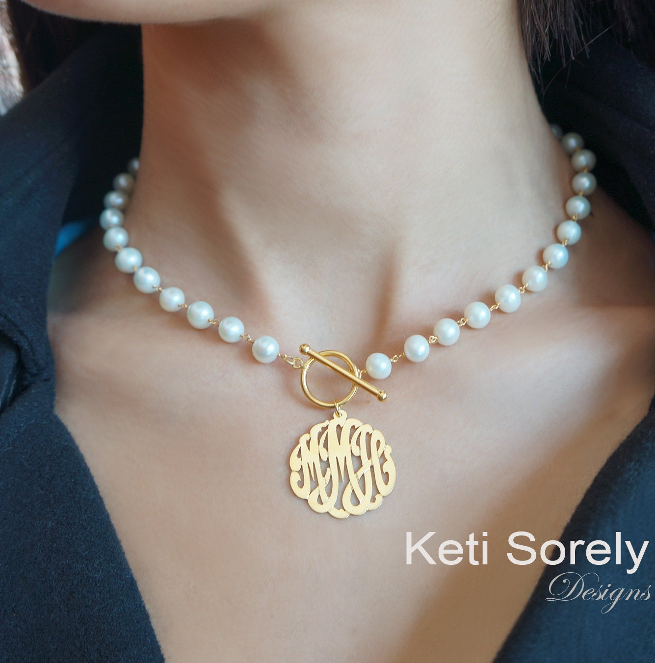 ff4ea2fc973df Pearl Necklace with Monogrammed Initials Charm - Freshwater White Pearls  And Toggle Clasp, Sterling Silver, Yellow Gold, Rose Gold