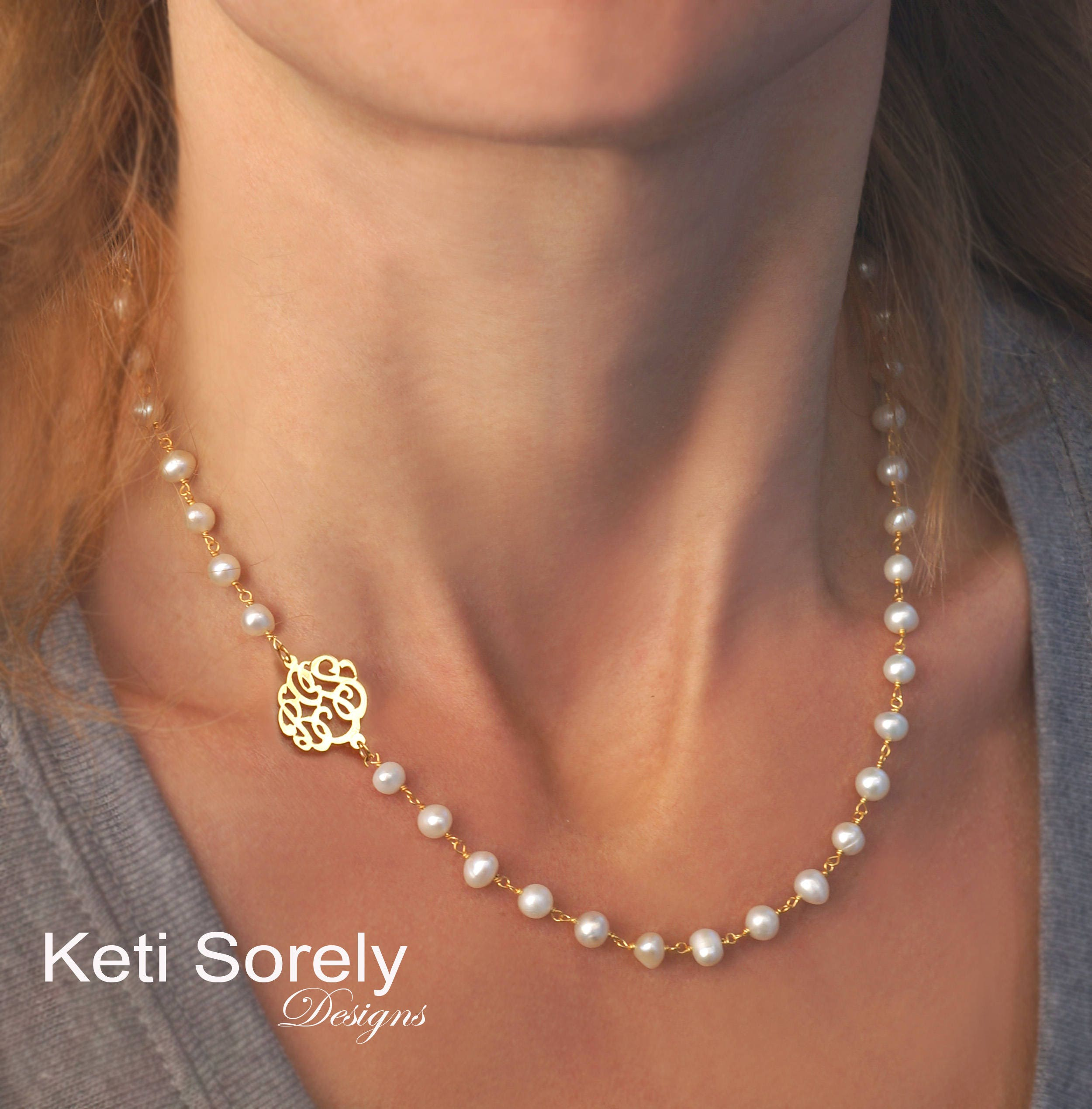59eb96e441597 Sideways Monogram Initials Charm With Pearl Necklace - Personalized in  Sterling Silver, Yellow Gold or Rose Gold - White Pearls Necklace