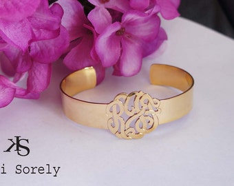 Handmade Cuff Bangle with Monogram Initials (Order Any Initials) -  Sterling Silver, Yellow or Rose Gold, Monogram Bangle