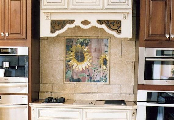 Fliese Wandbild Sonnenblume rote Scheune Design Küche | Etsy