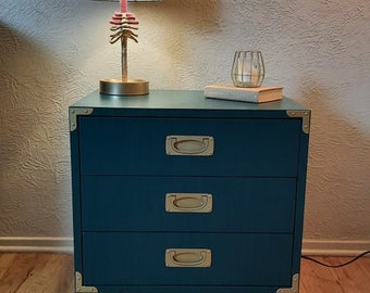 SOLD - Emerald Green Nightstand, End Table, Dresser