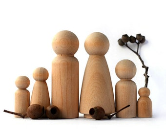 Wooden PEG DOLLS - Large 6 piece Family. Wedding cake topper plus free gnome pattern !!