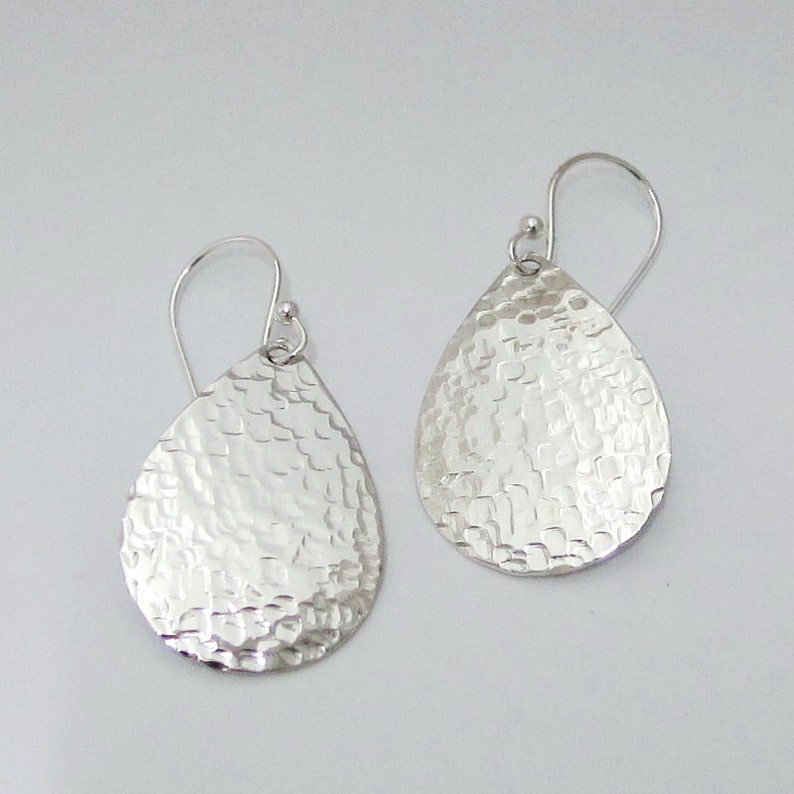 68b3a8090 Unique Square Hammered Textured 925 Sterling Silver Teardrop   Etsy