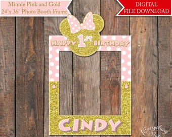 "Minnie Mouse Pink and Gold 24""x 36"" Digital Photo Booth Frame Printable Digital Download"